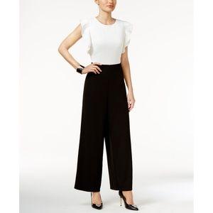 Thalia Sodi Two Tone Ruffled Wide Leg Jumpsuit, L